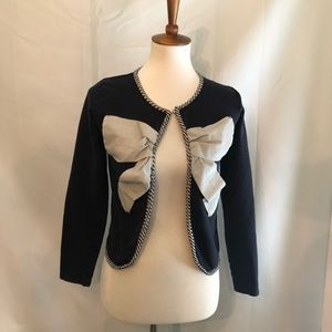Atmosphere navy and white bow cardigan